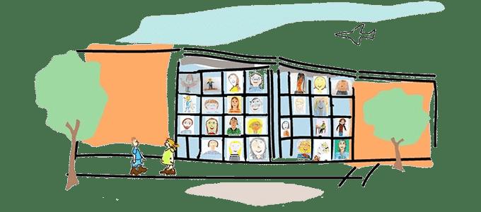 Schulgebäude & Lehrer